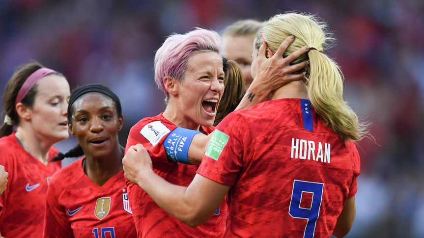 REIMS, FRANCE-JUNE 11:Megan Rapinoe of USA celebrates after scoring during the 2019 FIFA Women's World Cup France group F match between USA and Thailand at Stade Auguste Delaune.