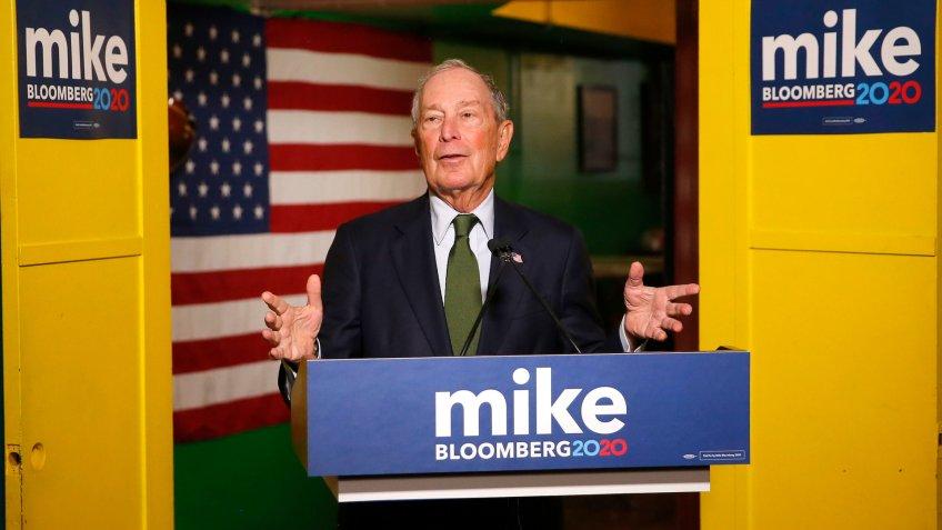 Michael Bloomberg speaks to the media, in Phoenix.