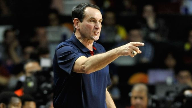 MADRID, SPAIN - September 14th 2014 :MIKE KRZYZEWSKI coach of USA during the Final game of FIBA BASKETBALL WORLD CUP 2014 at Palacio de los Deportes Arena.
