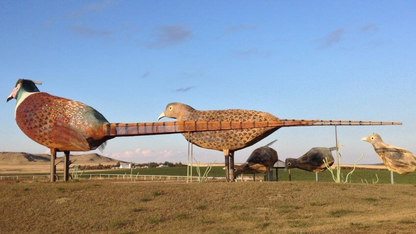 "Regent, ND/USA-Oct 2, 2015: A 30-mile stretch of road in west North Dakota is dubbed ""the Enchanted Highway"" for its eight oversized folk art sculptures, such as this metal ""Pheasants on the Prairie."