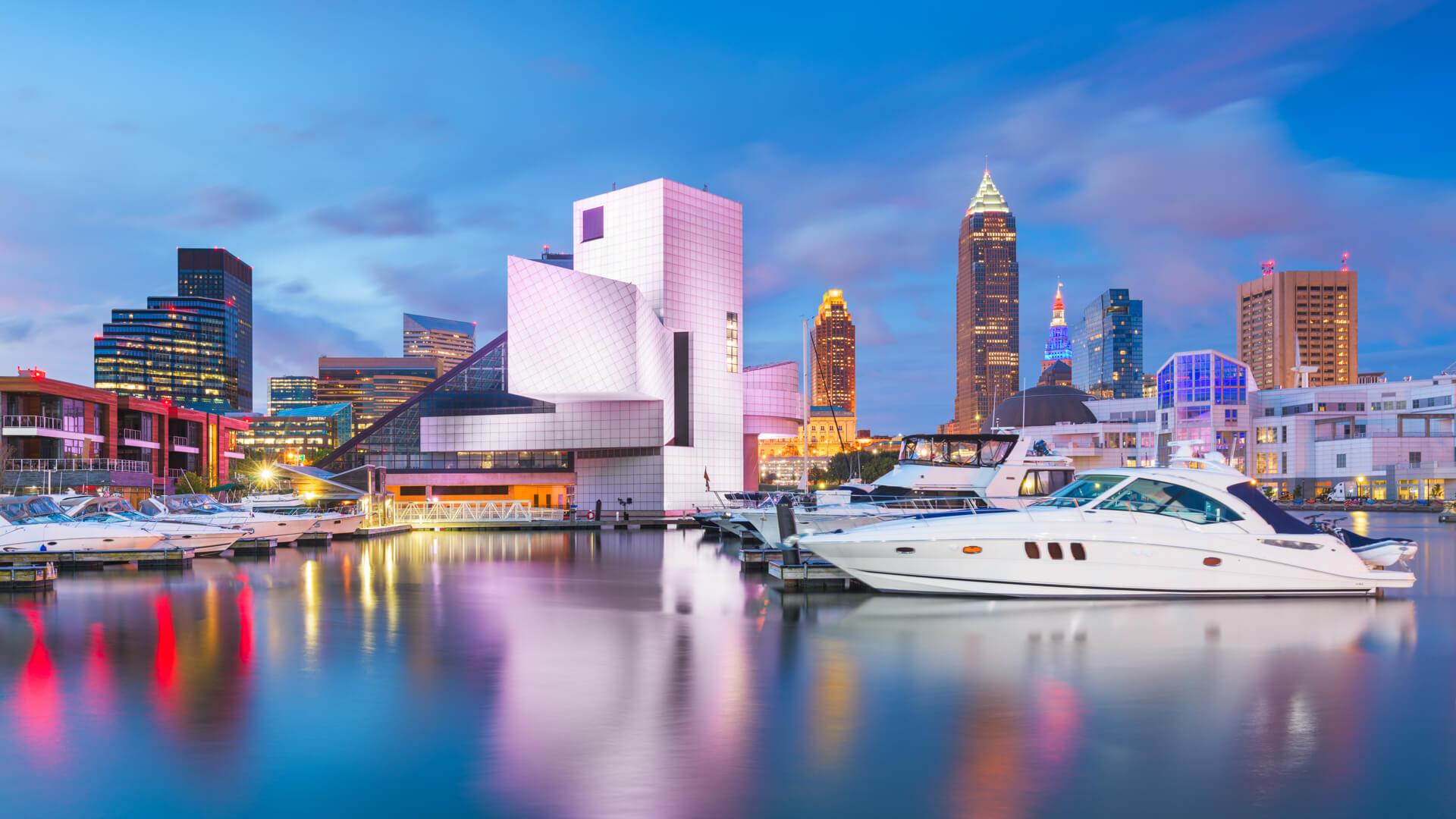 Cleveland, Ohio, USA downtown city skyline and harbor at twilight.