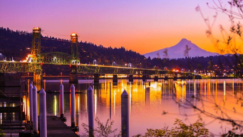 Hood River, Oregon at sunset.