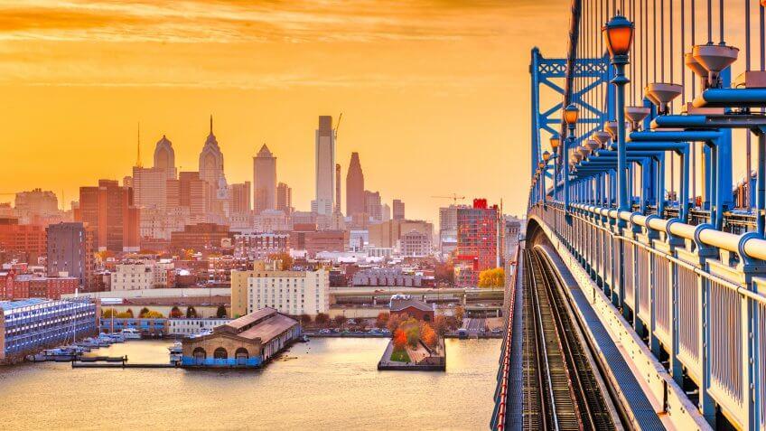Philadelphia, Pennsylvania, USA downtown skyline from the Benjamin Franklin Bridge at twilight.