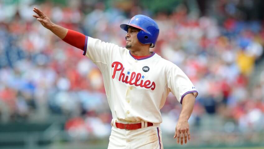 PHILADELPHIA - JULY 26: Phillies center fielder Shane Victorino reacts to being sent back to first base after a stolen base attempt July 26, 2009 in Philadelphia.