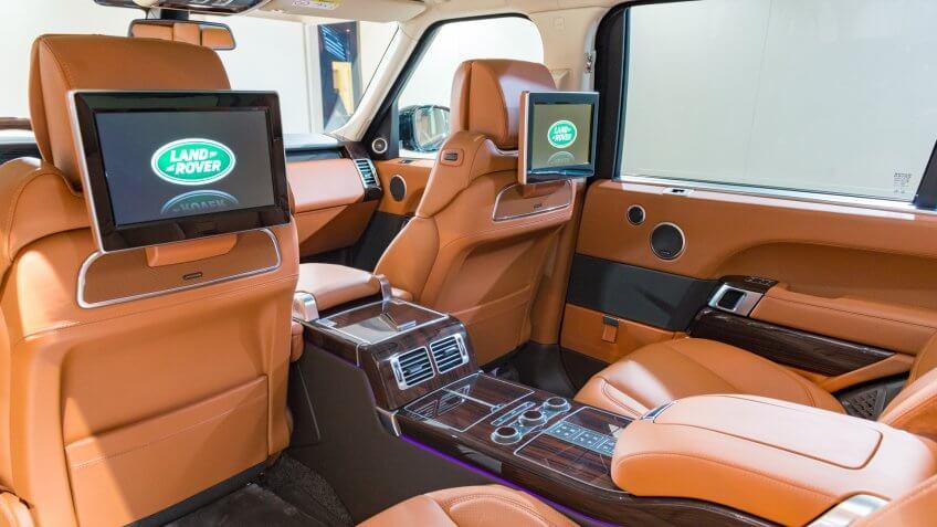 Brussels, Belgium - Januari 12, 2016: Luxury interior on a Range Rover offroad SUV car.