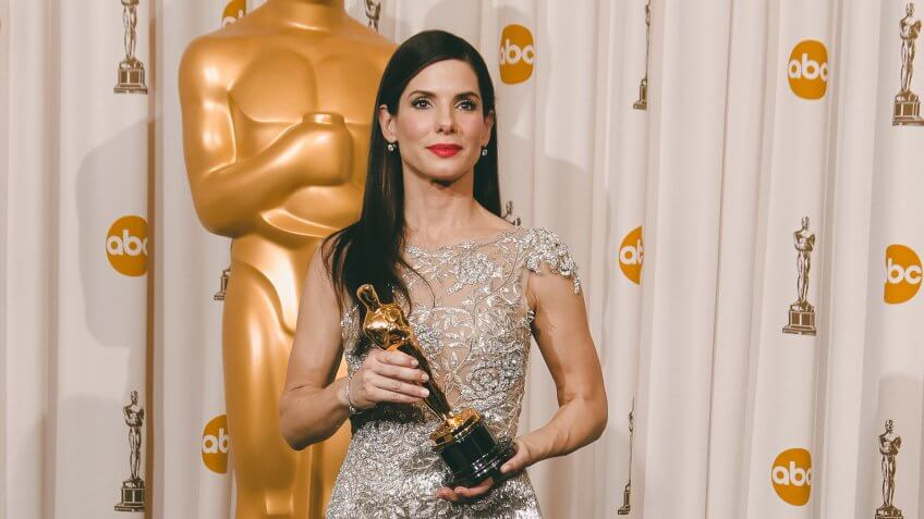 """Sandra Bullock Sandra Bullock poses with the Oscar for Actress in a Leading Role for """"The Blind Side"""" in the Press Room during the 82nd Academy Awards, in the Hollywood section of Los AngelesOscars - Press Room, Los Angeles, USA."""
