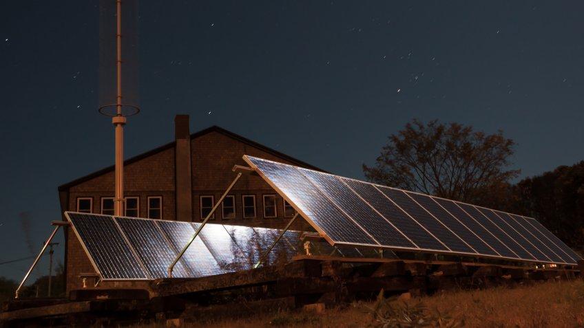 solar panels at night