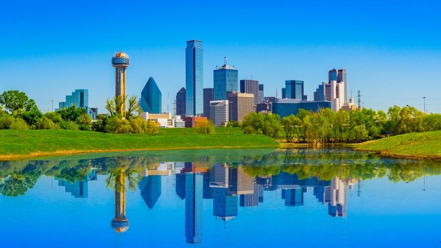 springtime urban skyline; clean city skyline; refreshing urban scene; springtime in Texas.