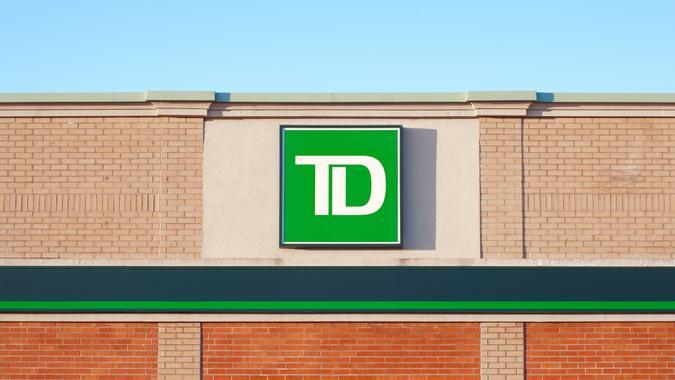DARTMOUTH, CANADA - MAY 21, 2015: TD Bank exterior sign.