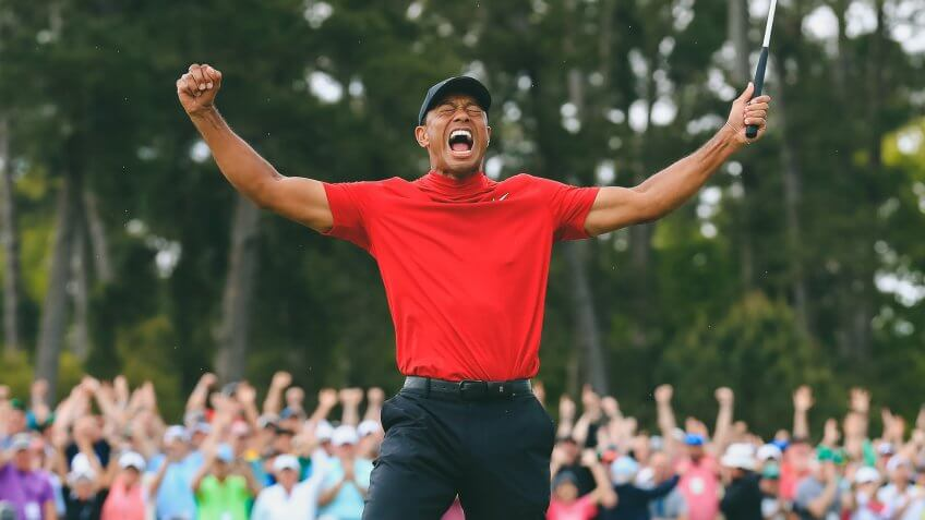 Tiger Woods of the US celebrates after winning the 2019 Masters Tournament at the Augusta National Golf Club in Augusta, Georgia, USA, 14 April 2019.