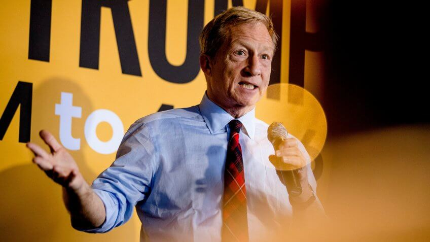 Democratic presidential candidate businessman Tom Steyer speaks at a campaign stop at the Grumpy Goat Tavern, in Ankeny, IowaElection 2020 Tom Steyer, Ankeny, USA - 28 Jan 2020.