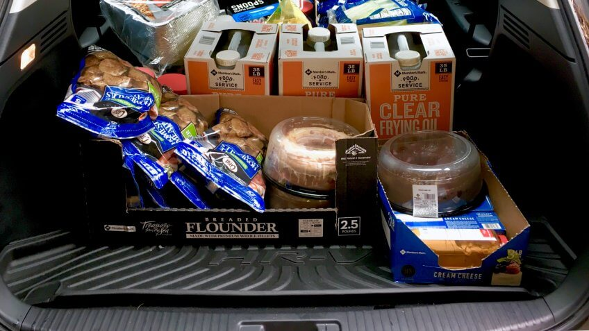 Fayetteville , North Carolina/ USA - March 09 2019 : Many grocery items for restaurant in a trunk.