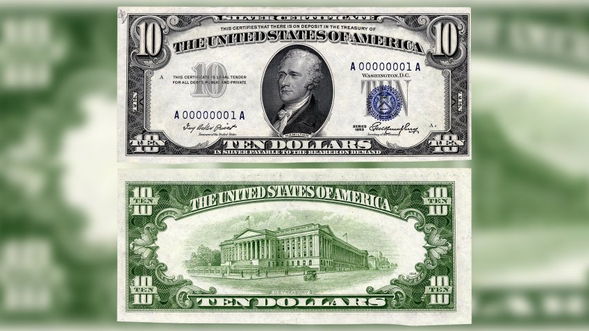 US $10 1953 Silver Certificate