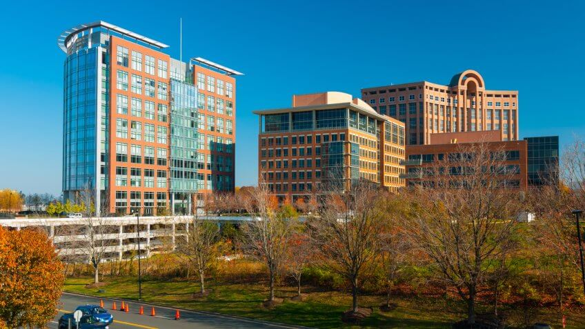 Tysons Corner, Virginia highrise office buildings.