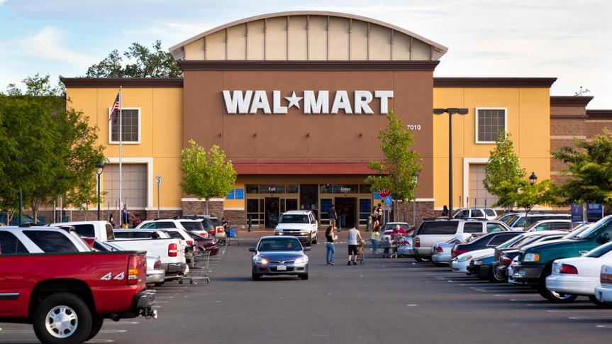 Citrus Heights, California, USA - May 20, 2011: View at a California Walmart storefront from its parking lot.