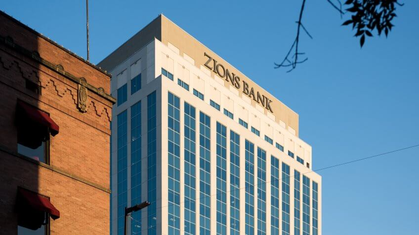 BOISE, IDAHO/UNITED STATES – JUNE 27, 2017: Zion bank building at sunset in Boise, ID.