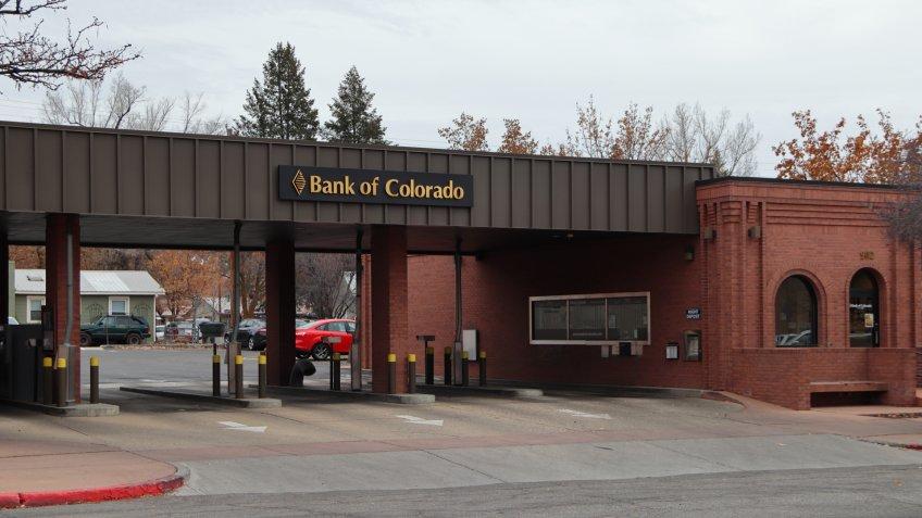 Durango, Colorado / USA - November 28 2019: Bank of Colorado Second Ave Main Entrance and Drive Thru.