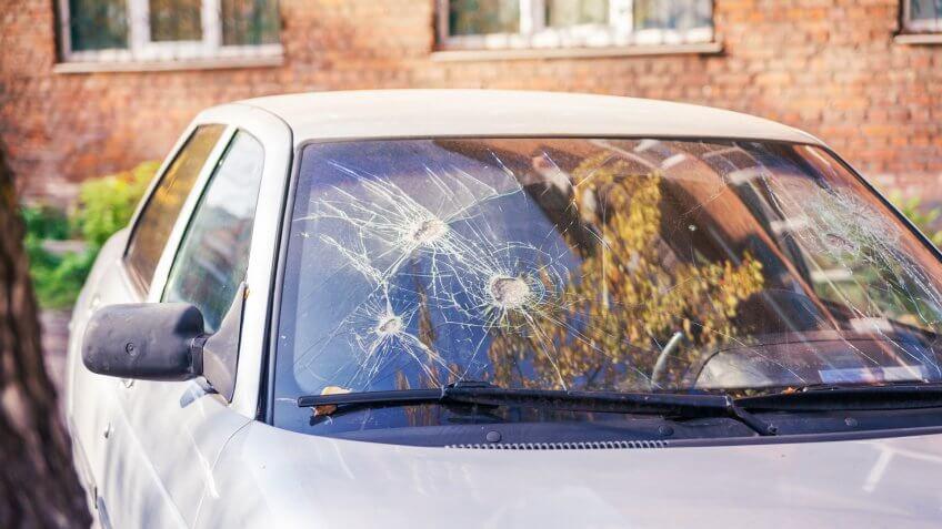 Broken car glass.