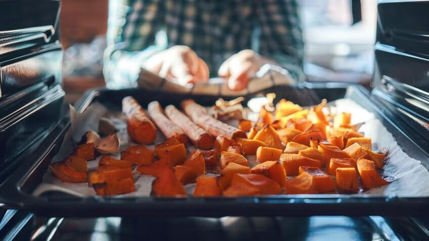 Roasting Pumpkins in the Oven.