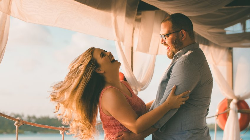 couple having fun on vacation.