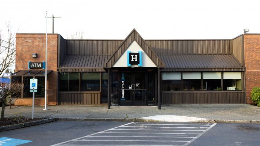 SEATTLE, UNITED STATES - JANUARY 26, 2018: Local HomeStreet Bank branch closed on a weekend.