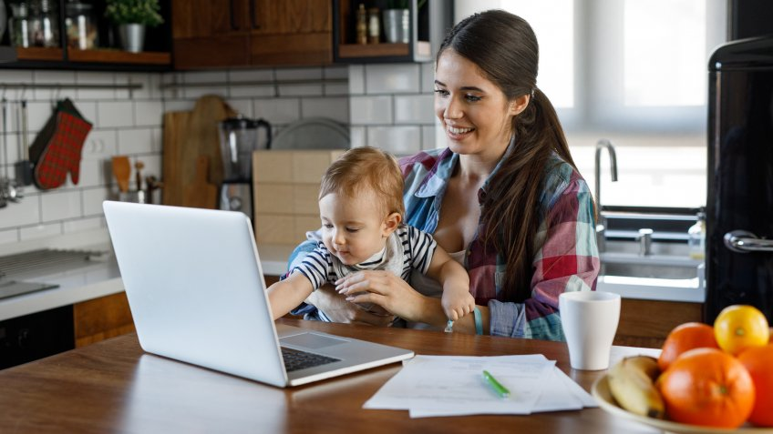 A young mother multitasking.