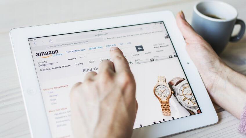 person shopping on Amazon app