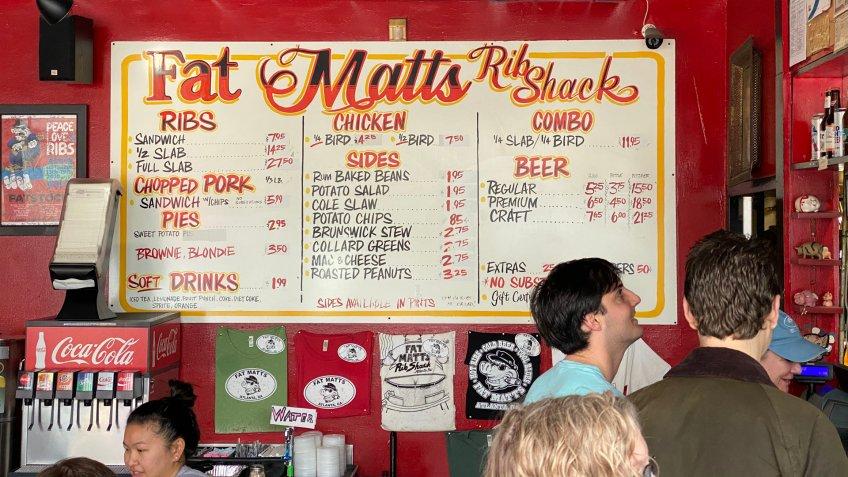 Atlanta, Georgia - January 25 2020: Menu board of Fat Matt's Rib Shack in Atlanta.