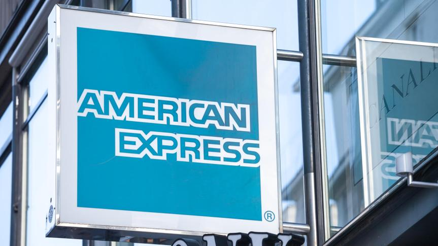 VIENNA, AUSTRIA - NOVEMBER 6, 2019: American Express logo in front of their office for Vienna.