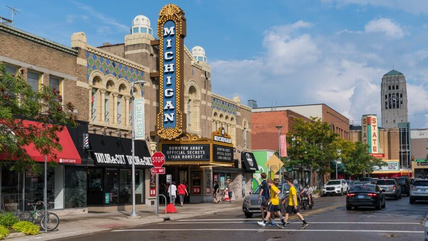 Ann Arbor, MI - September 21, 2019: Historic Michigan Theater, built in 1928, located on East Liberty St in Downtown, Ann Arbor.