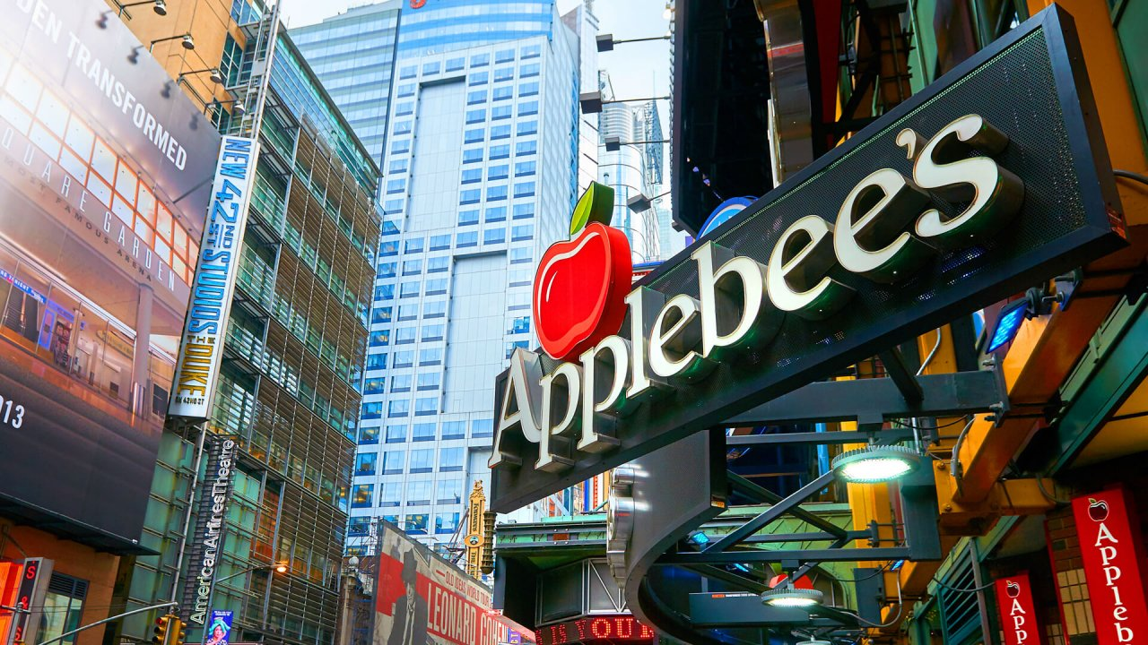 NEW YORK CITY, MANHATTAN, OCT,25, 2013: View on Applebee's restaurant on Times Square street.