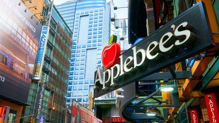 NEW YORK CITY, MANHATTAN, OCT,25, 2013: View on Applebee's restaurant on Times Square street.