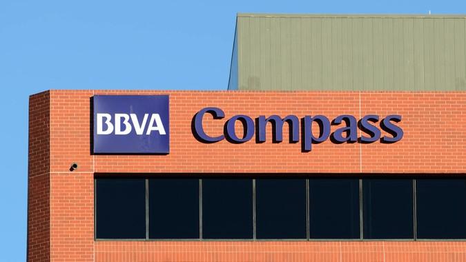 """Colorado Springs, Colorado, USA - January 31, 2013: The BBVA Compass building in Colorado Springs."