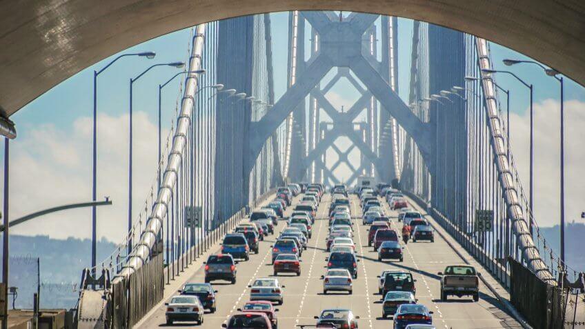 Bay bridge of San Francisco, USA.