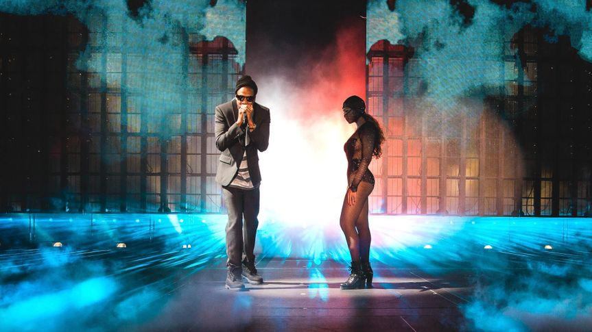 JAY Z and Beyonce perform during the On The Run tour at Citizens Bank Park, in PhiladelphiaBeyonce and Jay Z - On the Run Tour - , Philadelphia, USA - 5 Jul 2014.