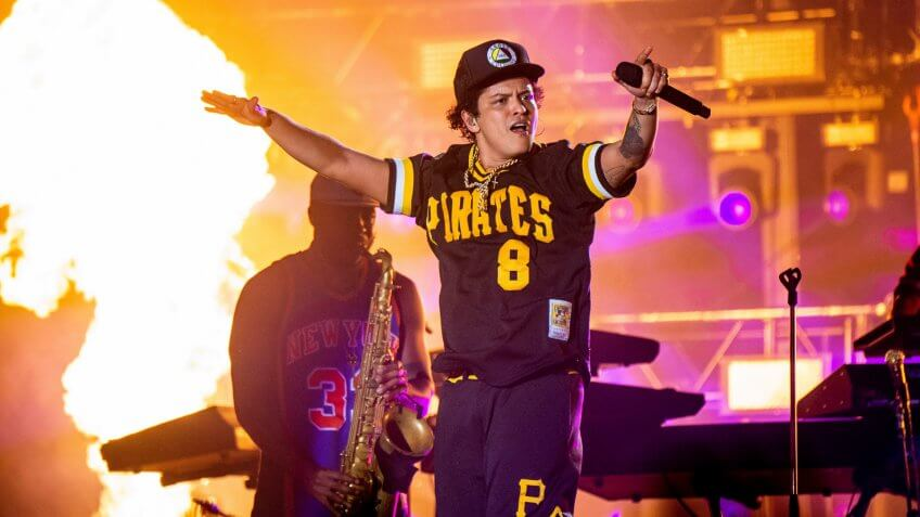 Bruno Mars performs at the Bottle Rock Napa Valley Music Festival at Napa Valley Expo, in Napa, Calif2018 BottleRock Valley Music Festival - Day 3, Napa, USA - 27 May 2018.