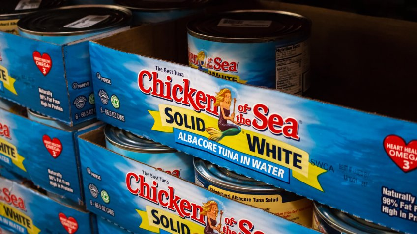 Tustin, California/United States - 03/18/19: Cans of Chicken of the Sea brand Tuna, at Costco.