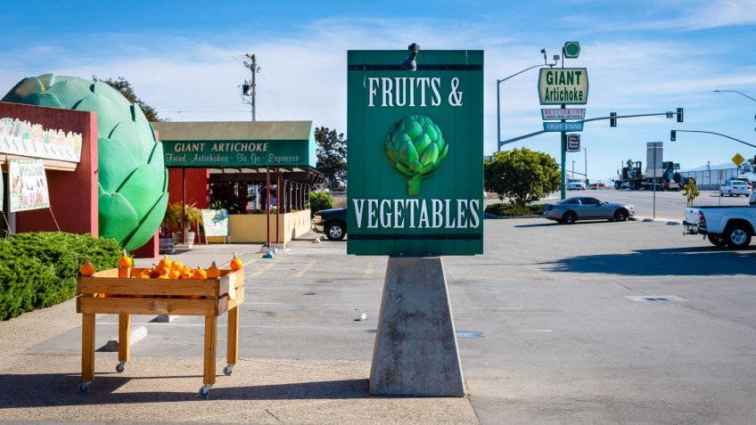 Castroville, California, United States of America- November 3, 2018: Giant artichoke Fruit and vegetables sign.