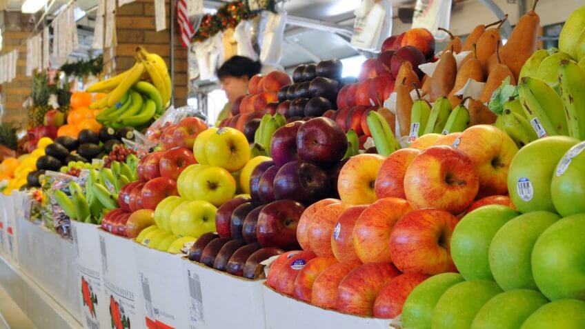 CLEVELAND, OH - JUNE 27: A produce vendor has her wares ready early on June 27, 2012 at the famed West Side Market in Cleveland, Ohio, celebrating 100 years of continuous operation in 2012.