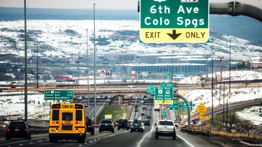 Winter traffic on interstate.
