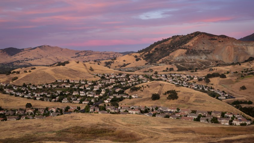 Suburban homes sprawled across the hills of Concord in the Bay Area, California.