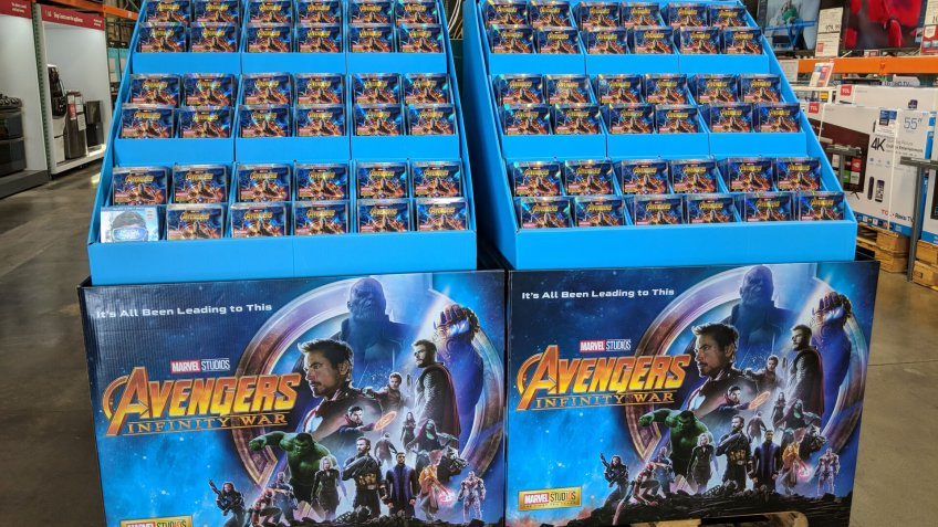 Honolulu - August 14, 2018: Avengers Infinity War Blu-Ray Display inside Costco Store.