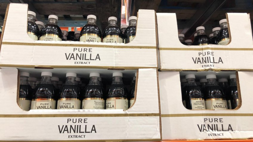 JUNE 13 2018 - MAPLE GROVE, MN: Pure Vanilla Extract for sale for an extremely high price inside of a Costco Warehouse retail store.