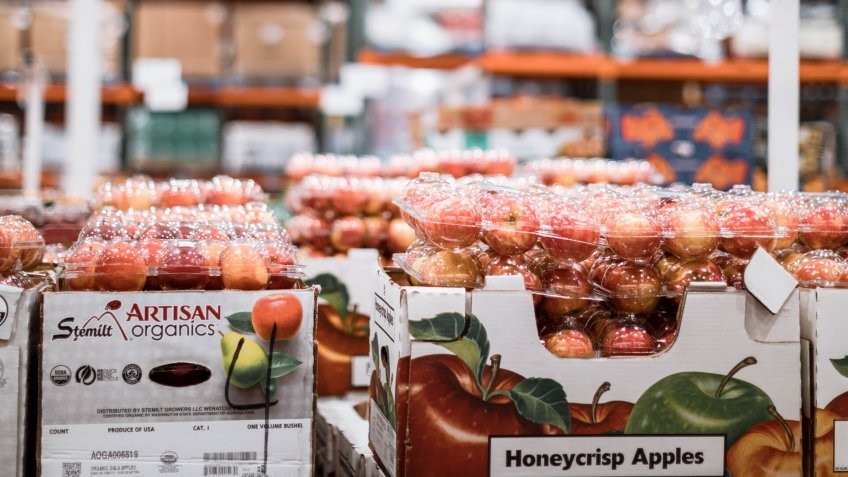 Tigard, Oregon - Oct 25, 2019 : Pile of fruit apples on display at Costco Wholesale.
