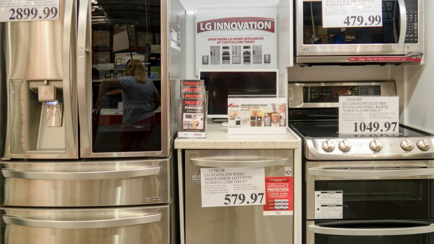 Aliso Viejo, CA / USA - 11/03/2018: LG Kitchen Appliances on Display at a Local Costco.