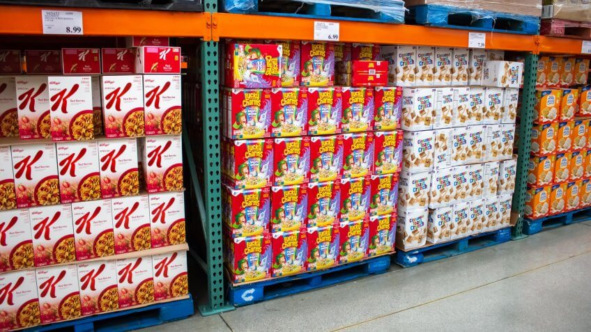 Tustin, California/United States - 03/18/19: Several big box children cereals in an aisle at Costco.