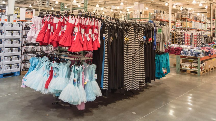 SEATTLE, WA, US-JUL 28, 2015:Clothes department variety clothes at Costco Wholesale big-boxes store.