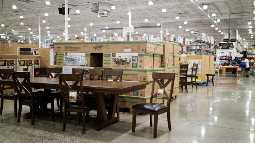 San Leandro, California/USA - July 23, 2019: Dining table and chairs at Costco Wholesale.