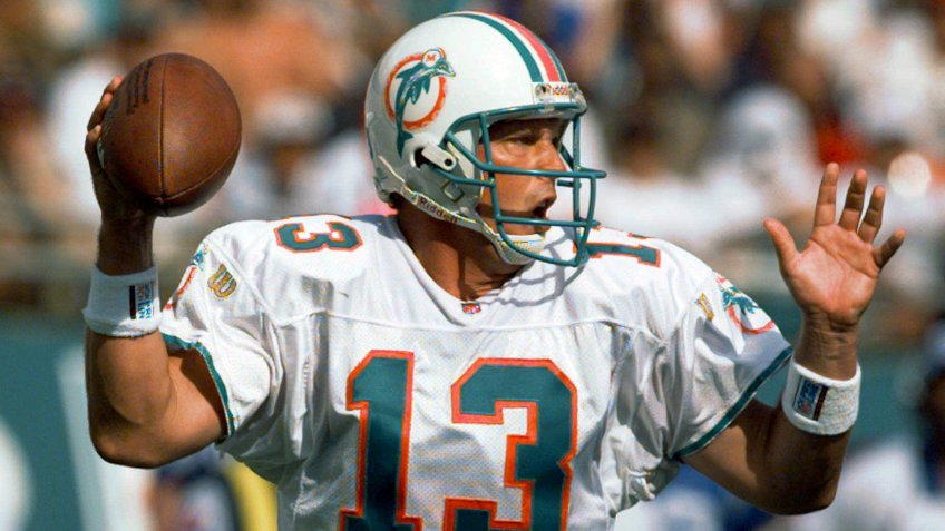 Mandatory Credit: Photo by Hans Deryk/AP/Shutterstock (6511420a)MARINO Miami Dolphins quarterback Dan Marino looks for an open receiver during second quarter action in Miami against the Indianapolis Colts .