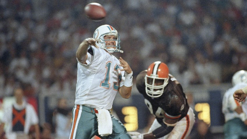 Mandatory Credit: Photo by Jeff Glidden/AP/Shutterstock (6546155a)Dan Marino Miami Dolphin quarterback Dan Marino passes for 16 of his 322 yards against the Cleveland Browns in Cleveland, OhioDan Marino Miami Dolphins 1992, Cleveland, USA.